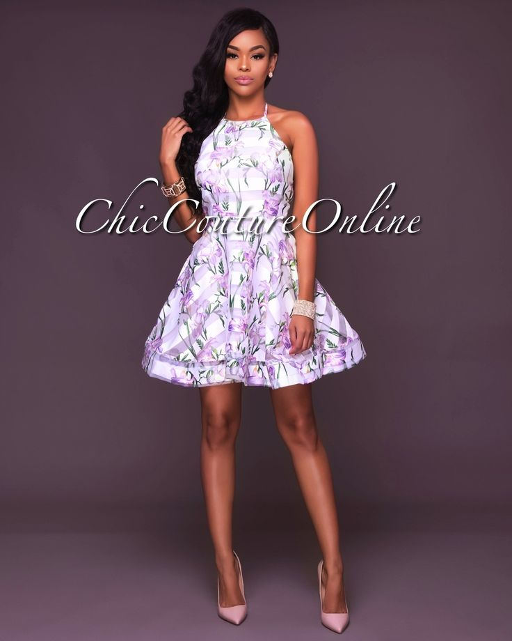 Chic Couture Online - Kaia White Floral Halter Skater Dress,(http://www.chiccoutureonline.com/kaia-white-floral-halter-skater-dress/)