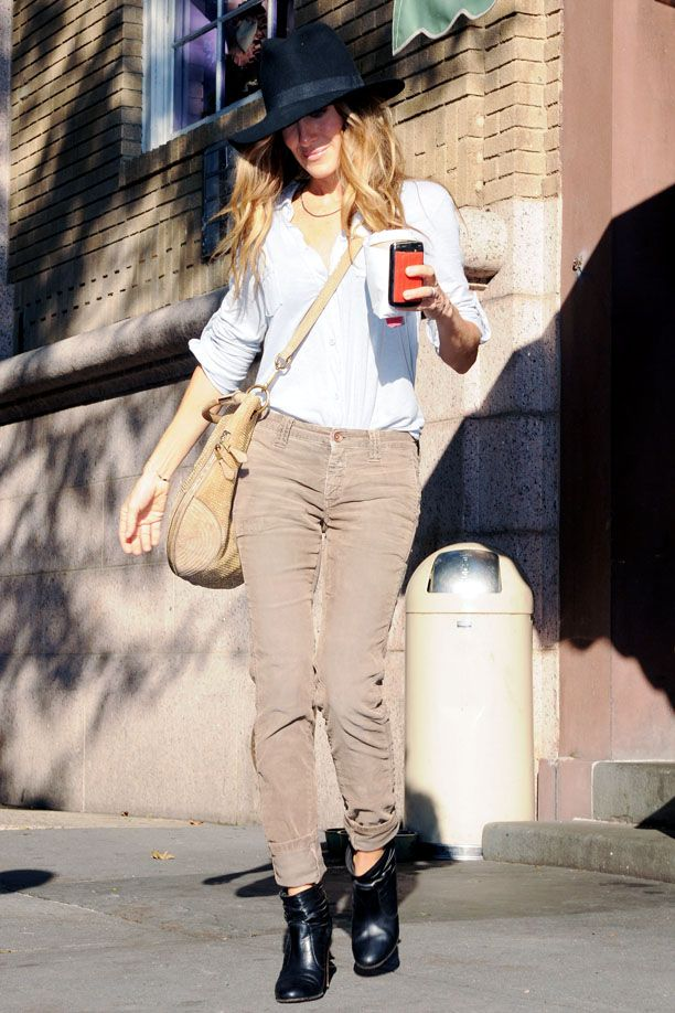SJP.  She always looks good, whether dressed up or down.  Liking the color of her cords.