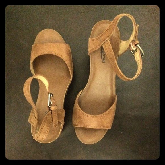 """Lucky brand camel wedge. Only worn once! In new condition.  1"""" at the toe to 3.5"""" at the heel. Lucky Brand Shoes Wedges"""