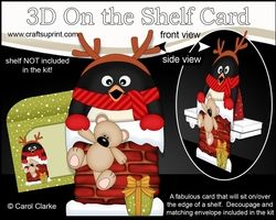 3D On The Shelf Card Kit - Christmas Pip Penguin Is Helping Santa Take The Presents Down The Chimney