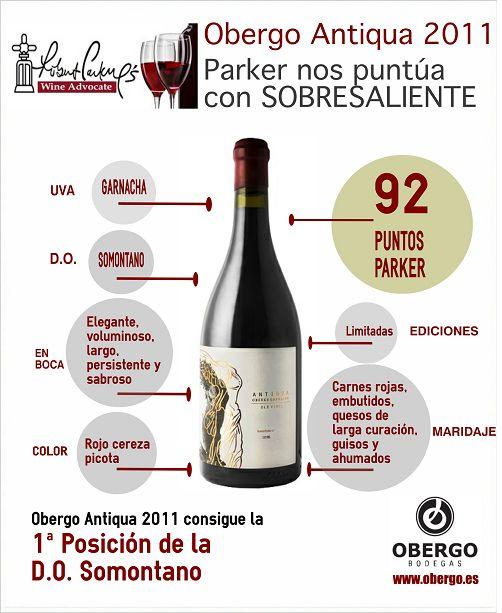 G (Garnacha): Sinónimo de nuestro excelente Obergo Antiqua 2011. #RobertParker nos ha puntuado con 92 puntos. ¡El mejor vino del #Somontano es de #BodegasObergo!