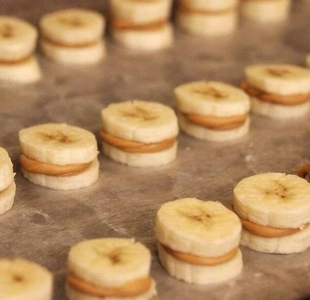 Healthy snack- peanut butter and honey banana bites
