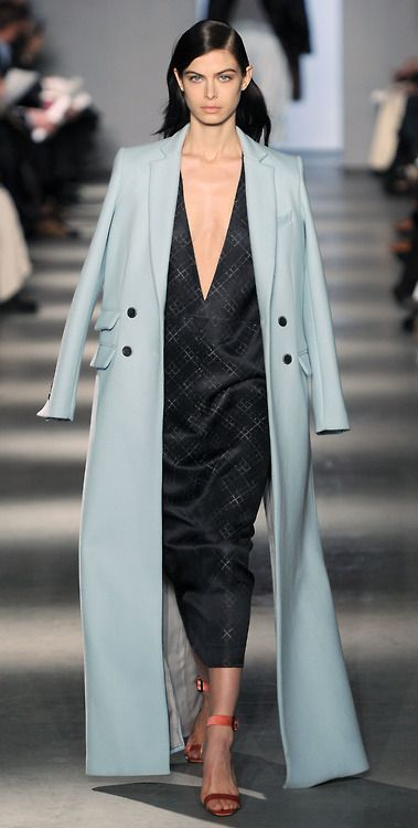 Floor length tailored coat in powder blue, continuing the winter...: