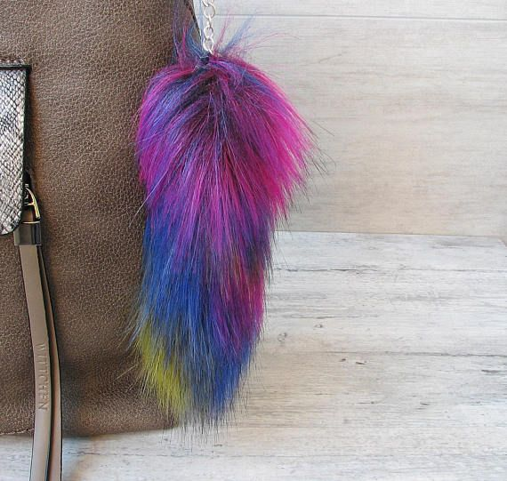 Multicolor Fur #Keychain Vegan faux fur pom pom Colorful