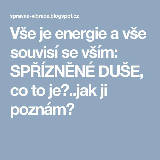 Vše je energie a vše souvisí se vším: SPŘÍZNĚNÉ DUŠE, co to je?..jak ji poznám?