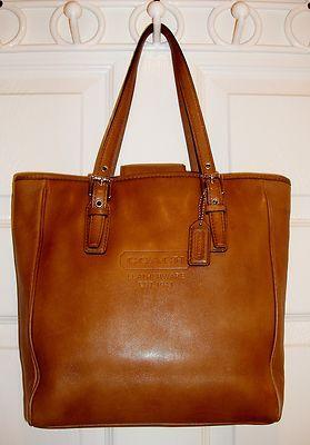COACH Tan Whiskey Cognac Purse Handbag Book Tote #7599, MSRP $300+, VG Cond.