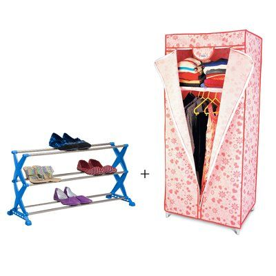 Rebrilliant 12 Pair Stackable Shoe Rack and Fabric Wardrobe