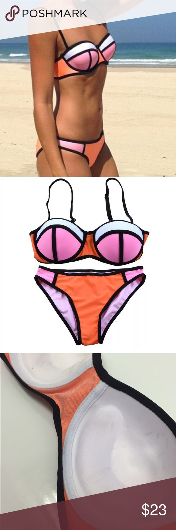 Pink Orange White Balconet Bikini Set New, no tags S: bottoms XS or XXS (00), top B, maybe C (I'm a 32D and it's a bit small) M: bottoms 0-2, top C-D (It fits me). L: bottoms 0-3, top D - maybe DD (its too big on me but it's so molded you can't really tell)  Cup is molded and does not lay flat so if you are pretty flat chested it might be a bit big.  This is like the triangle balconnet poppy peach soda but it's not triangl brand and not neoprene. Top has push up like the 3rd photo shows…