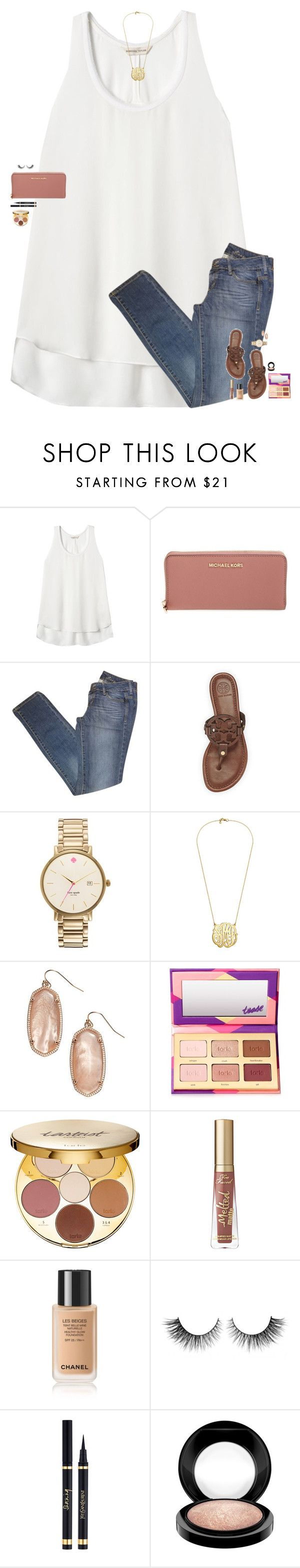 """""""If you lose me in a mall, just go to Sephora, I'll be there."""" by maggie-prep ❤ liked on Polyvore featuring Rebecca Taylor, MICHAEL Michael Kors, MANGO, Tory Burch, Kate Spade, Kendra Scott, tarte, Rimini, Yves Saint Laurent and MAC Cosmetics"""