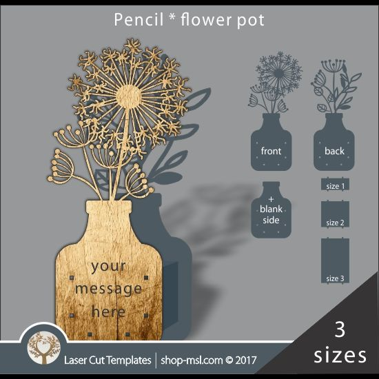product laser cut flower pot template use it for pencils act 3 different