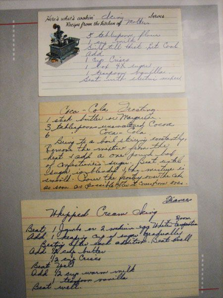 Frosting recipes my grandmother wrote out. If she got the recipe from someone else, she always wrote their name on the card too. - KellyGirl