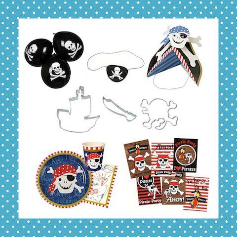 Echt een geweldig compleet pakket voor een piratenfeest! Met hoedjes, ooglapjes, ballonnen, uitnodigingen, piratenservies... en 3 koekvormpjes om in stijl koekjes te bakken! Voor 8 kinderen. http://dekinderkookshop.nl/product/verjaardagspakket-piraat-8-pers/