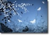Butterflies and Blossoms Blue on canvas.  Price: $25  Ships worldwide from The Canvas Art Factory  #blue #white #children #art #canvas