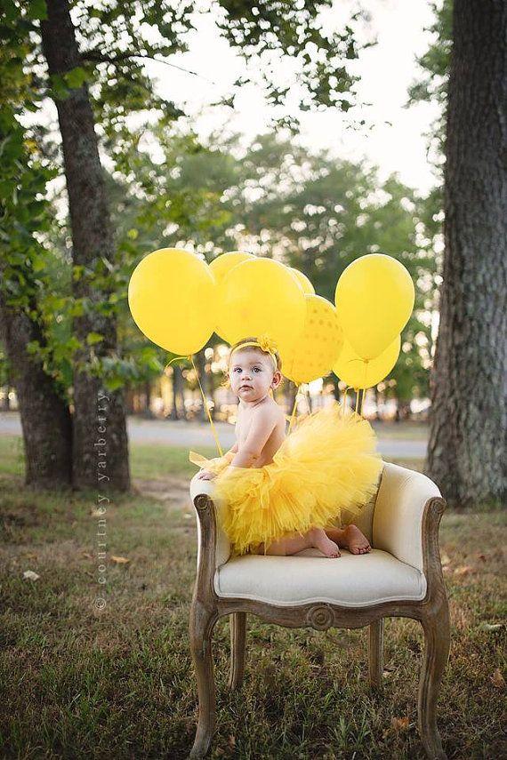 Yellow Tutu SEWN Tutu Baby Girls Tutu Cake Smash Tutu by PICKLEBUG