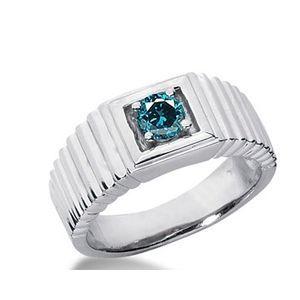 0.50 Karat blauer Diamant- Herrenring 585er Weißgold