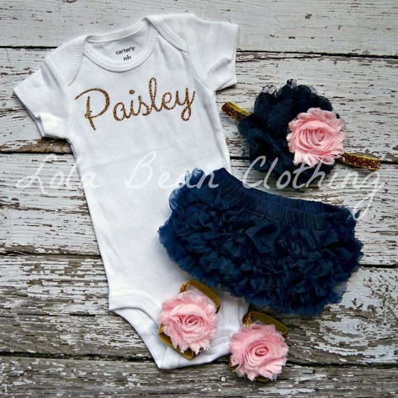 Baby Girl Take Home Outfit Newborn Baby Girl Custom Onesie Bloomers Headband Sandals Set Navy Pink Gold Silver