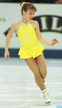 Tara Lipinski -Yellow Figure Skating / Ice Skating dress inspiration for Sk8 Gr8 Designs.