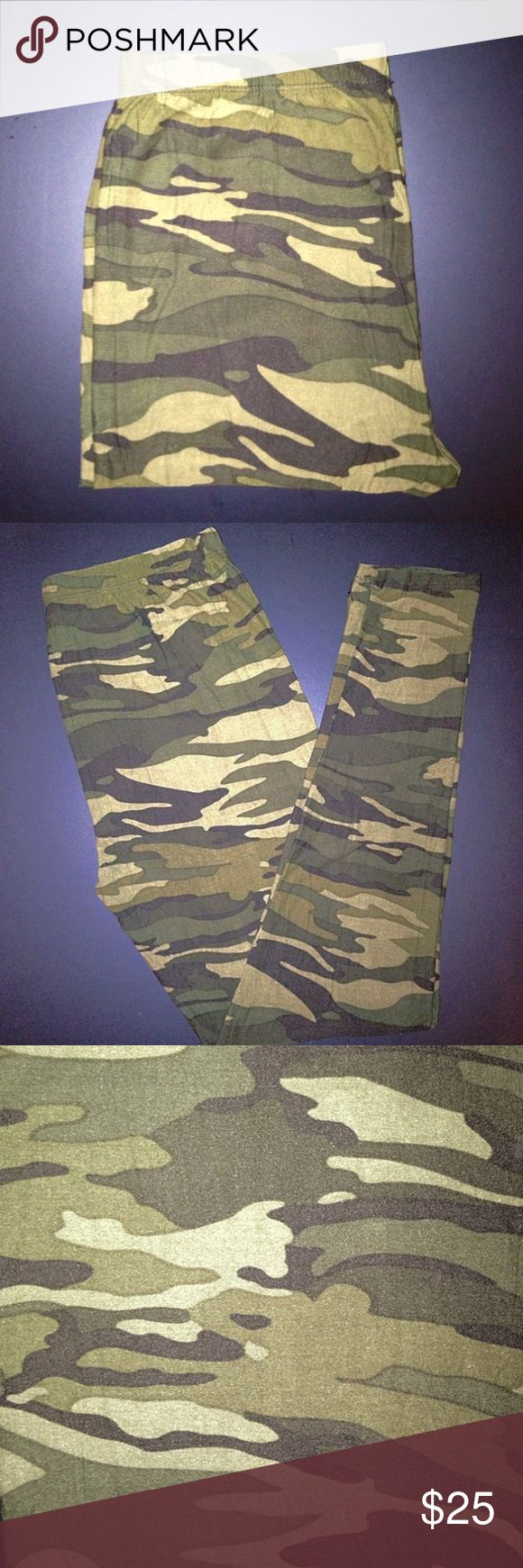 Buttery Soft Army Green Camouflage Legging CAMO TC BUTTERY SOFT GREEN CAMOUFLAGE LEGGINGS  Size: Plus Size (Similar to Tall & Curvy) Numeric Size: 10-18 THESE ARE NOT LULAROE Fabric Blend: 92% Polyester 8% Spandex (Same Blend as Lularoe)  Brand New - Hard to Find Limited Edition Print! Super Soft & Comfy Leggings ~ Just Like Other Brands!!   These ARE NOT LuLaRoe Leggings But Fit & Feel Just Like Them!  *Ships Within 24 Hours* *Smoke Free Home*  ~All Prints Are Limited Edition~ ~If You…