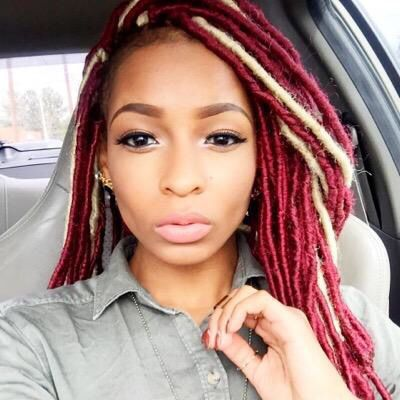 Red Faux Locs w/ Hints Of Blonde | Colored Strands ...