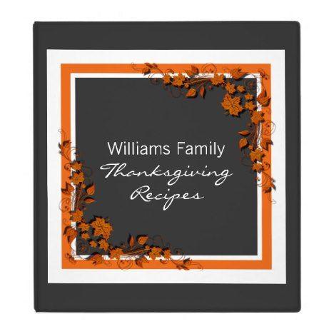 Autumn Swirls Thanksgiving Recipe Binder (1 inch) #thanksgiving #binders