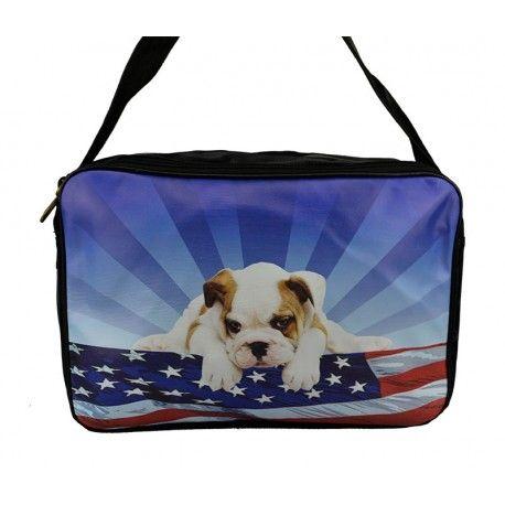 Skøn stor taske med en lille mops og Stars and Stripes flaget