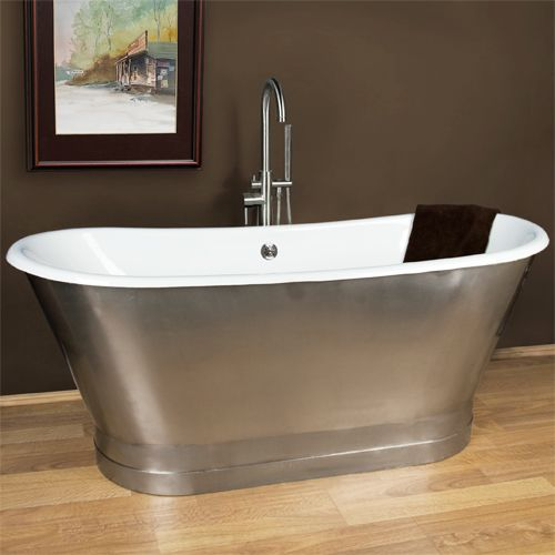 Superior Rowley Cast Iron Bateau Tub With Stainless Steel Skirt   Similar To,  Cheaper Than Waterworks Margaux And Restoration Hardware Piedmont Tub