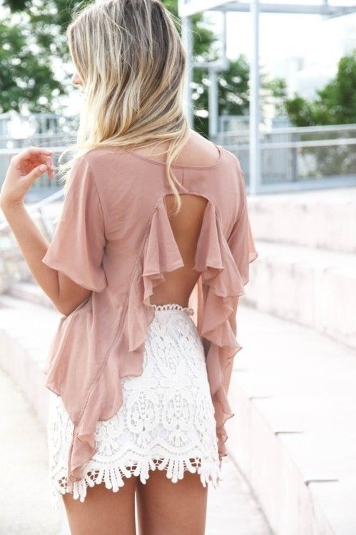 #lace: Ruffle, White Lace Skirts, Summer Style, Backless Tops, Summer Outfits, Crochet Skirts, Open Back, Backless Shirts