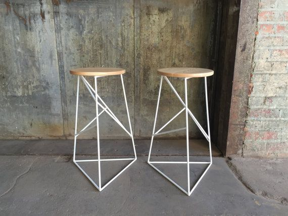 Short Modern Steel Stool with Solid Wood Top