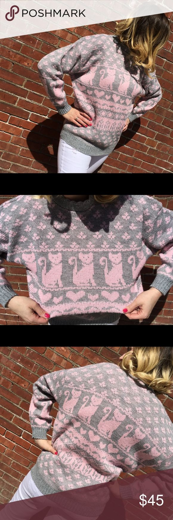1980s Vintage Kitty Kat Sweater 🐱 How adorable. I love this cute comfy sweater with the perfect kitty Kat print ;) it may be worn oversized and is vintage flawless. Love. Serious inquires please comment below and I'll take measurements for you 🐱 listing as oversized as large to xtra small can wear this with different styles and looks. Vintage Sweaters Crew & Scoop Necks