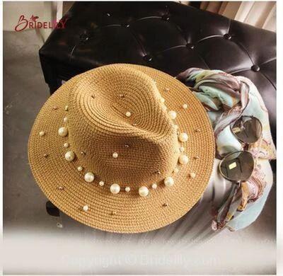 British Pearl Beading Flat Brimmed Flat Straw Hats – Fashion Hats At Bridelily