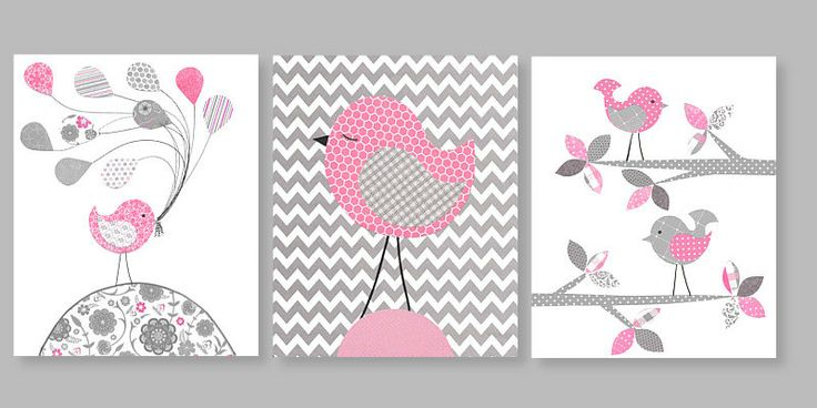 Printable Nursery Art Gray and Pink Girl's by SweetPeaNurseryArt, $12.00