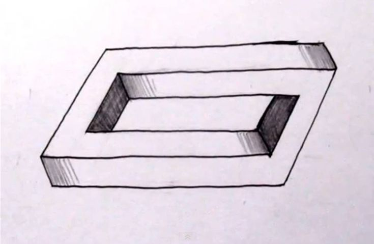 how to draw the impossible penrose rectangle cool optical illusion p logo pinterest. Black Bedroom Furniture Sets. Home Design Ideas
