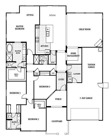 142 best dream floor plans images on pinterest house for Tandem garage house plans