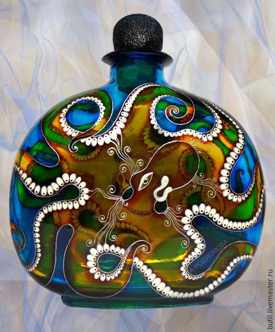 Купить Бутылка Осьминог, витражная роспись - синий, ольга родионова, Бутылка для вина, бутылка в подарок