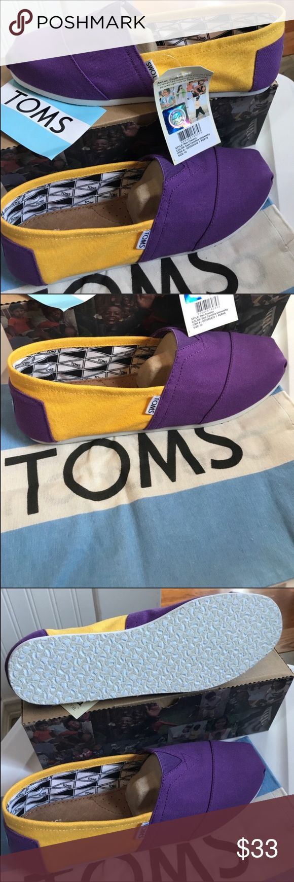 TOMS- East Carolina University colors Classics Purple and gold very summery and crisp. New in box 📦  Light weight canvas slipons, the shoe that made TOMS famous! University of East Carolina University or other schools with Purple and gold. Classic Canvas TOMS, East Carolina University Toms Shoes