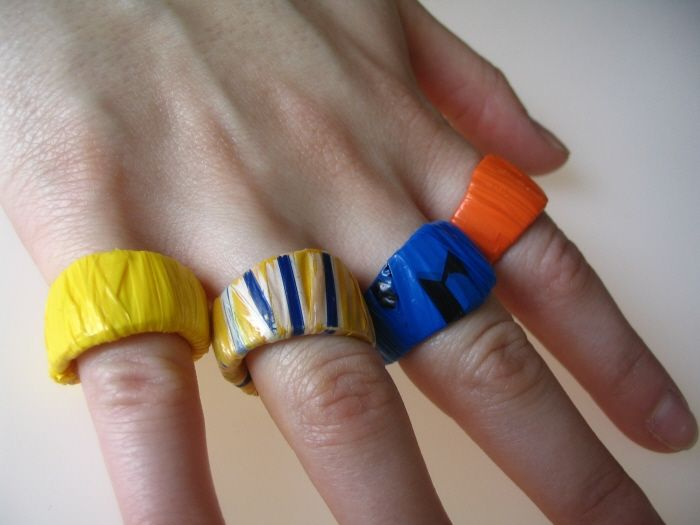 Upcycled Plastic Rings - 100% recycled plastic!  These rings were made from upcycled plastic yogurt containers and plastic grocery bags collected from Brooklyn Freecycle members.