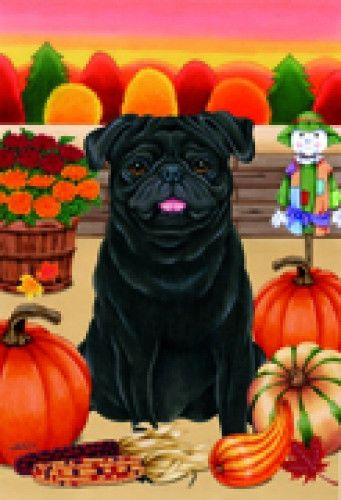 Large Indoor/Outdoor Autumn Flag - Black Pug (TP) 67089