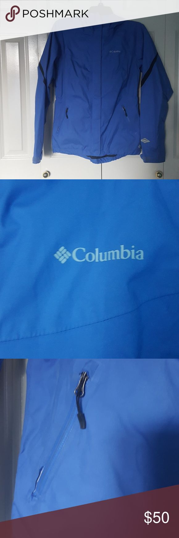 Blue Columbia Rain Jacket In great condition periwinkle blue Columbia Omni-tech rain proof breathable rain jacket. This was perfect for all the rainy Seattle weather we get up here but unfortunatly I grew out of it ☹ Has a feminine cut to it that is very flattering. Other than 2 very small, barely noticeable dirt stains (that can probably be removed with some cleaner, shown in last photo) it's in great used condition! 2 zipper pockets, armpits unzip, sleeves have velco to adjust. Feel free…