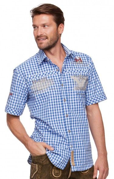 Chequered short sleeve shirt for men Brad azure