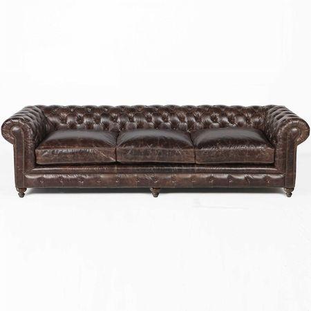 "Finn 118"""" Cigar Club Leather Upholstered Chesterfield Sofa"