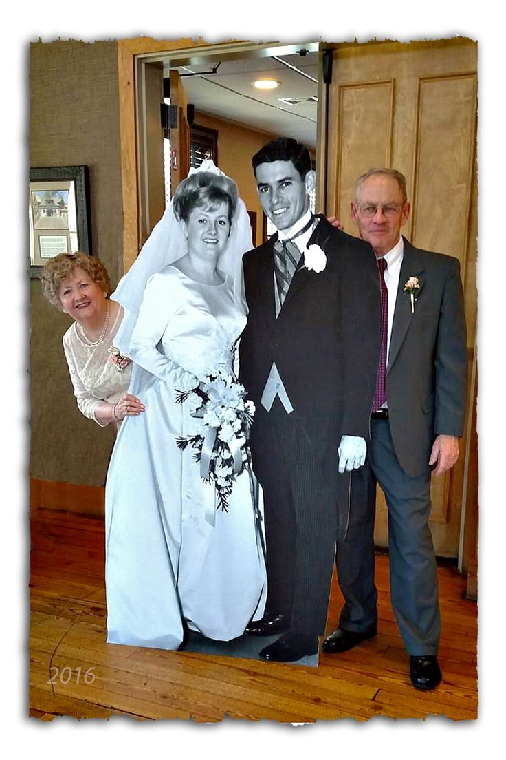 A 6' cutout wedding picture taken 50 years ago was a hit at our 50th Wedding Anniversary celebration!  Here's the site I ordered it from:  http://www.dreamscenesinc.com/products/Custom-life%252dsize-S (Pour Mariage)