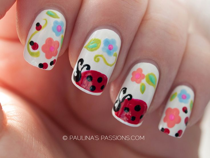 These unbelievably cute ladybugs were carefully painted on each of these nails, so if you're searching for a special nail art, perfect for spring, this is it! Ladybug nail designs are perfect for t...