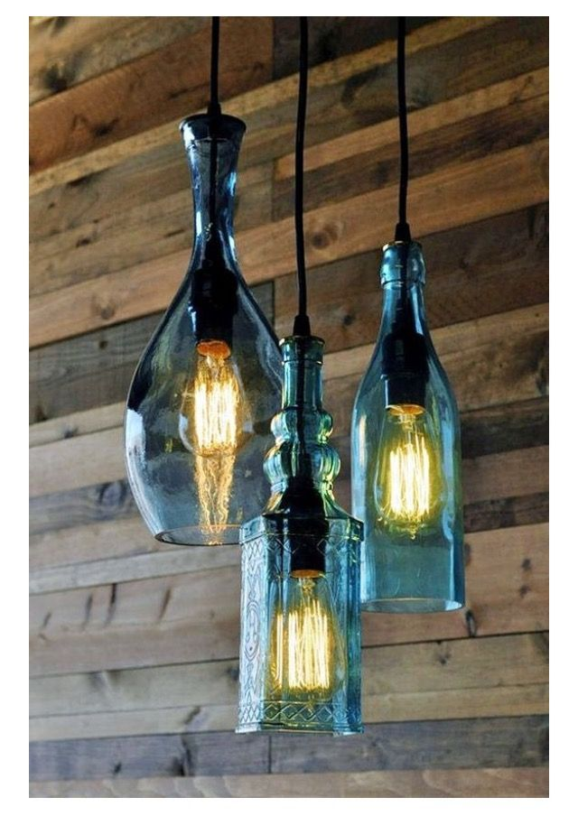 Beautiful Trio Pendant Lights Crafted with Bottles & Edison Bulbs. Learn how to DIY lamps for home decor and shop your supplies at www,ilikethatlamp.com