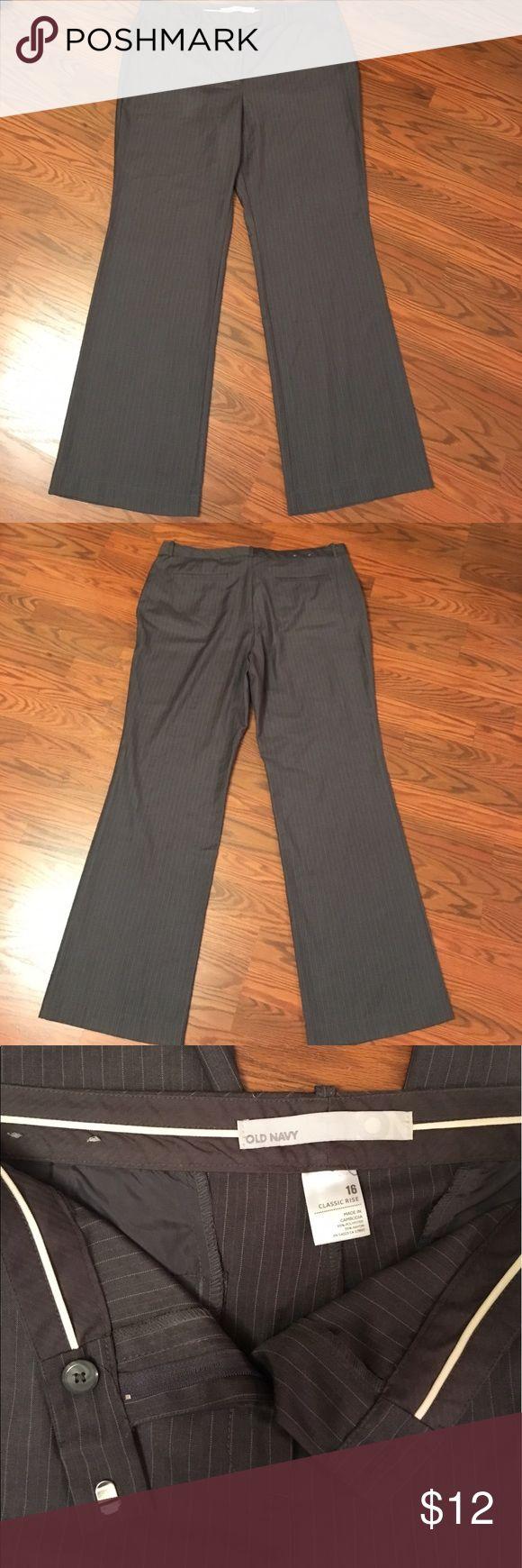 "NWOT Old Navy Dress Pants Never worn! Gray pinstripe dress pants/trousers, ""Classic Rise"", wide leg, 33"" inseam, belt loops, size 16 Old Navy Pants Trousers"
