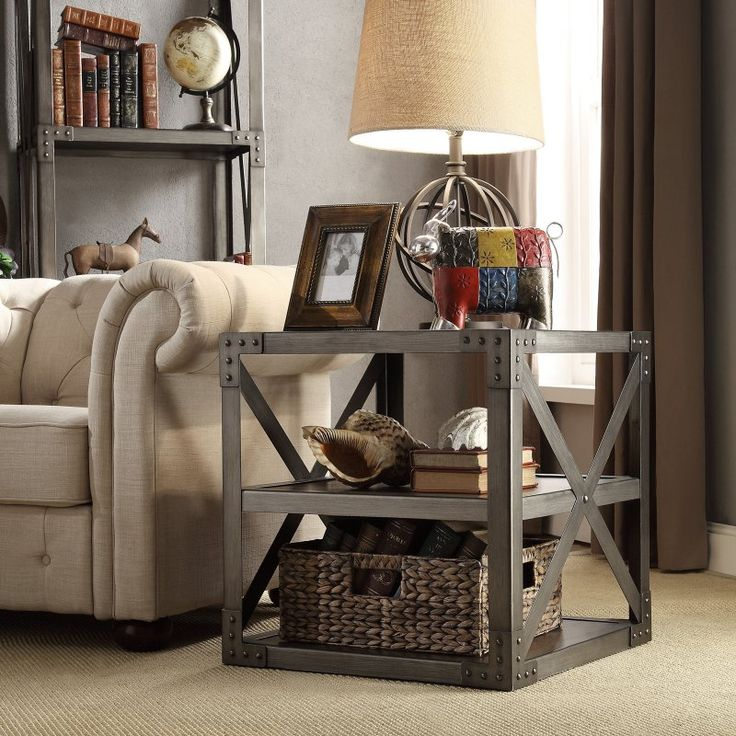 Home Elegance Industrial End Table With Shelf   E684 04(3A)N