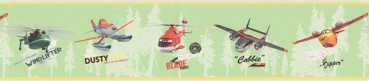 Cenefa PL3507-2 Disney con imágenes de distintos aviones como Dusty, Cabbie...el color de fondo de la cenefa es verde y los aviones están pintados en distintos colores.