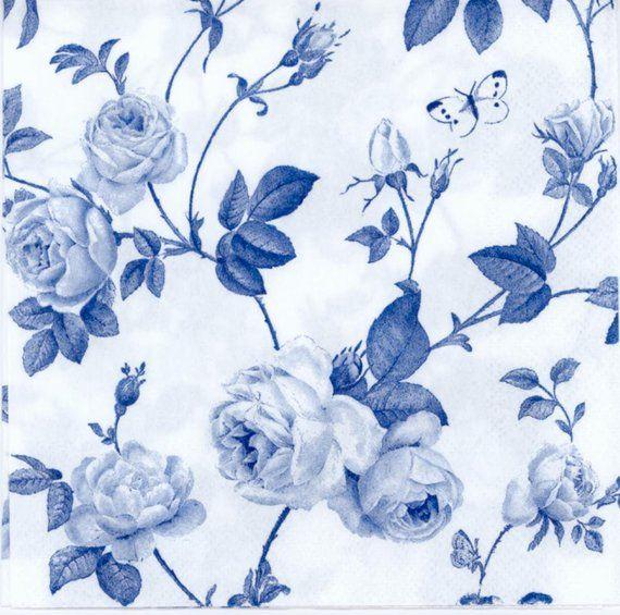 4 Single Paper Napkins for Decoupage Elegant Light Blue