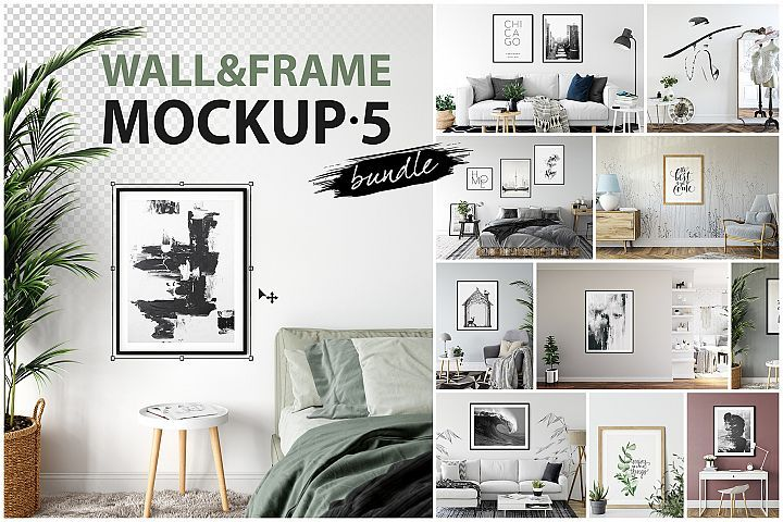 Frames Walls Mockup Bundle 5 372839 Mockups Design Bundles Frames On Wall Design Mockup Free Wall Mockup