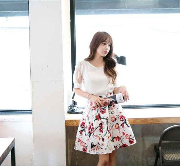 Setelan Rok dan Atasan Korea Cantik Bahan Sifon Katun A2995