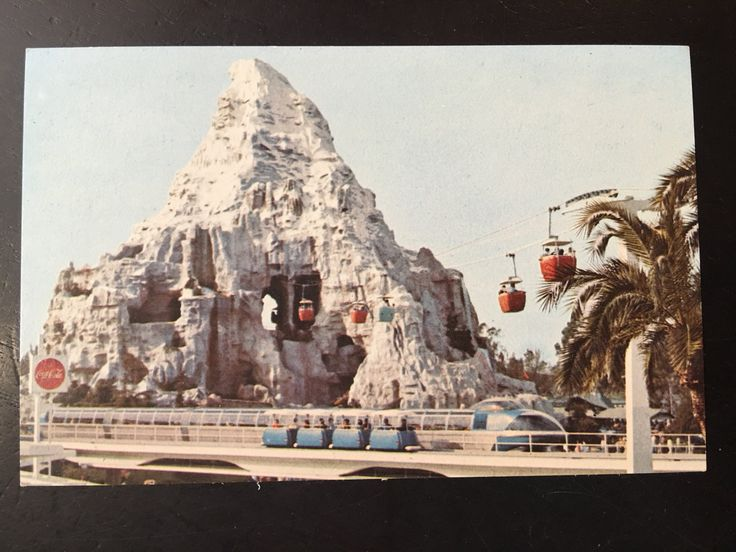 Vintage Disneyland Tomorrowland Postcard - Matterhorn Mountain - Skyway - Monorail - People Mover by VintageDisneyana on Etsy